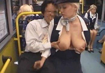 金髪CAばかりが乗ってるバスの中で爆乳CAを痴漢して手コキさせる
