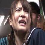 バスで黒パンストノーパンバイブ挿入痴漢に悶絶顔で耐えるJK動画