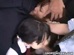 電車でチカンレイプされた母娘が種付け行為で中出しドクドク