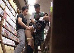 媚薬ちんぽ書店で突然はめられたJKが痙攣イキまくる